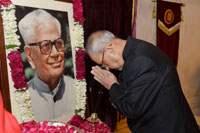 The President, Shri Pranab Mukherjee paying homage at the portrait of the former President, Shri R. Venkataraman, on his Birth Anniversary, at Rashtrapati Bhavan, in New Delhi on December 04, 2016.