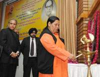 "The Union Minister for Water Resources, River Development and Ganga Rejuvenation, Sushri Uma Bharti lighting the lamp at a seminar on ""Marching Ahead on Dr. Ambedkar's Path of Water Resources Management for Inclusive Growth"", organised by the Central Water Commission, on the occasion of death anniversary of Dr. Bhimrao Ambedkar, in New Delhi on December 06, 2016."