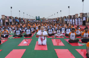 The Prime Minister, Shri Narendra Modi participates in the mass yoga demonstration at the Ramabai Ambedkar Maidan, on the occasion of the 3rd International Day of Yoga - 2017, in Lucknow on June 21, 2017.
